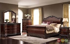 King Sleigh Bedroom Sets by Bella Traditional King Sleigh 4pc Bedroom Set W Mahogany Wood Finish