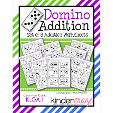 domino addition set of 8 worksheets for early addition concepts