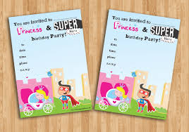 20 children u0027s birthday party invitations princess and superhero