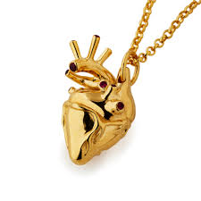 heart necklace gold plated images Large gold plated anatomical heart necklace with rubies the jpg