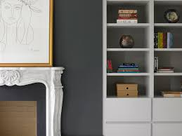 bookcase bespoke fireplace alcove furniture grey walls floating