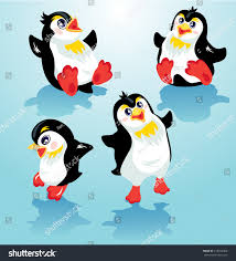 set funny penguins on blue icy stock illustration 219254608