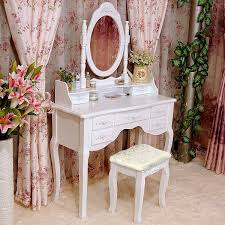 White Bedroom Dressing Tables Tribesigns Wood Makeup Vanity Table Set With Mirror And Stool