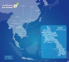 Laos World Map by Lao Airlines