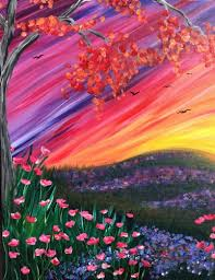 colorful fall meadow paint nite event