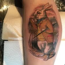 chris brown leg tattoo my white rabbit tattoo for the birth of my daughter alice artist