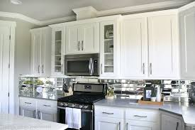 mirror tile backsplash kitchen kitchen decor with white reveal mirrored kitchen cabinet