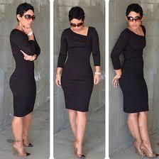 black plain asymmetric shoulder sleeve knee length dress