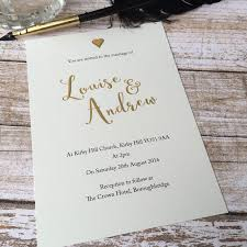 Personalised Wedding Invitation Cards Gold Effect Wedding Invitations