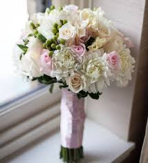 bridesmaid bouquets white dahlias roses soft pink roses and green berries