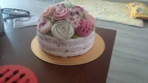 korean ricecake dok 떡 cake with dyed red bean paste flower