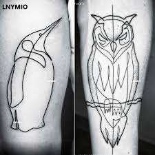 tattoo animal line 2017 new tattoo owl and penguin temporary tattoo sticker black line