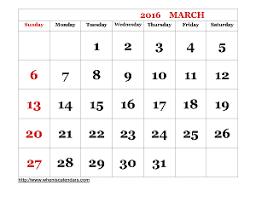 march 2016 calendar printable template word pdf image