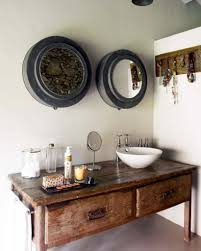 rustic bathroom mirror cabinet with wall color and chic bowl