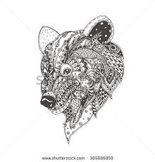 bear bushes ethnic floral doodle pattern stock vector 476236423