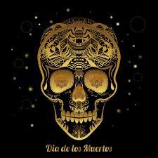 gold ornamental sugar skull dia de los muertas day of the dead