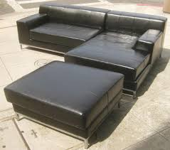 Sofa With Ottoman Chaise by Furniture Black Leather Deep Sectional Sofa With Chaise And