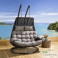 Outdoor Wicker Egg Chair Outdoor Rattan 2 Person Garden Hanging Chair Balcony Patio Decor