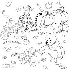 Winnie The Pooh And Friends Fall Coloring Page Disney Family Fall Coloring Page