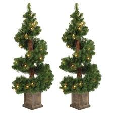 3 5ft pre lit artificial tree 2 pc potted spiral tree