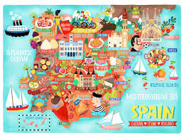 spain map illustration postcard mini print liv wan illustration