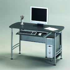 Small Metal Computer Desk Desk Black Simple Metal Glass 2 Storage Drawers Pullout Keyboard