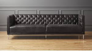 Tufted Leather Sofas Savile Black Leather Tufted Sofa In Sofas Reviews Cb2