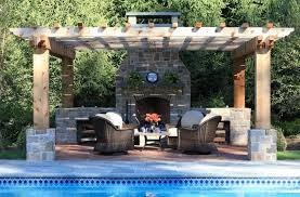 Stacked Stone Outdoor Fireplace - exterior design small functional outdoor wood burning fireplace