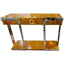 Retro Console Table Cardin Burl Wood Vintage Console Table Brass Chrome