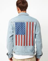 American Flag Jean Shorts Men Lyst American Apparel Denim Jacket With Flag Print In Blue For Men
