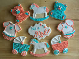 coral baby shower baby shower cookies custom made for a teal coral themed baby