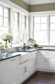 kitchen designed with white cabinets and porcelain kitchen sink