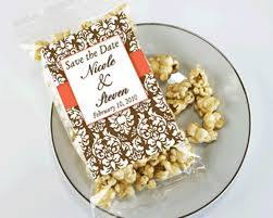 popcorn wedding favors personalized fall themed caramel popcorn wedding favors