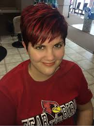 trendy u0026 fun short textured pixie hair cut and red velvet color by