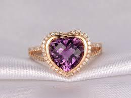 rose gold amethyst diamond ring 3 75ct heart shaped amethyst and diamond engagement ring 14k rose