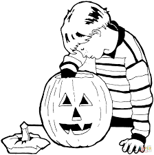 little boy is carving the pumpkin coloring page free printable