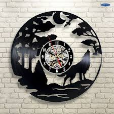 online shop wolf pictures vinyl record wall clock get unique