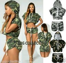 army pattern crop top womens ladies camouflage print short sleeve hooded crop top shorts