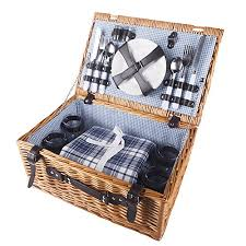 picnic basket set for 4 hicollie 4 person wicker picnic basket set with flatware