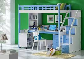 Kids Bunk Bed Desk Blue White Kids Bunk Bed Sets With Desk And Stairs Home Interiors