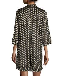 diane von furstenberg layla polka dot shift dress black gold