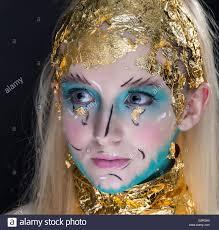 Beauty Garde Avant Garde Blonde Pale Female Fashion Creative Make Up Goldleaf