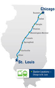 Chicago Illinois Map by Illinois Passenger Rail Amtrak Illinois U2013 Chicago To St Louis U2013 Map
