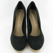 tamaris 22450 cork platform court shoes in black