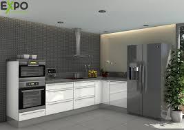 demi colonne cuisine pack cuisine angle cristal blanc de 273x153cm avec colonne four et