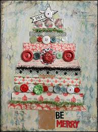 pretty christmas canvas i can see some vintage sew on buttons on