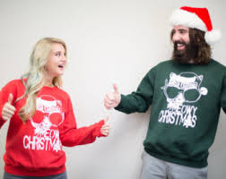 christmas hers christmas sweaters and santa hats etsy