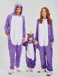 pajamas purple kid 140 unicorn animal matching family