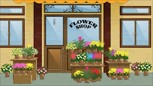flower shop flower arrangements in pots in display outside a quaint flower
