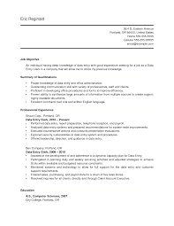 Clerical Resume Objective Examples Resume Resume Data Entry